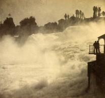 Suisse Chutes Du Rhin Neuhausen Rheinfall Ancienne Stereo Photo 1880 - Photographs