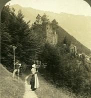 Suisse Ruines Du Château D'Unspunnen Ancienne Photo Stereo 1900 - Photographs