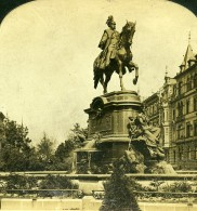 Allemagne Cologne Monument Du Roi Guillaume Ier Ancienne Photo Stereo HC White 1900 - Photographs