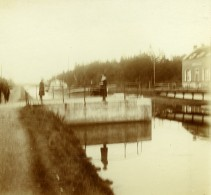 Belgique Schoten Hof Ecluse Du Canal De Herentals? Ancienne Photo Stereo Amateur 1919 - Photographs