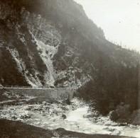 Allemagne? Non Située Route De Montagne Torrent Et Pont Ancienne Photo Stereo 1919 - Photographs