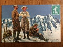 (alpinisme) Ernst PLATZ: Trois Alpinistes Au Sommet, Vers 1905, TBE. - Illustrateurs & Photographes
