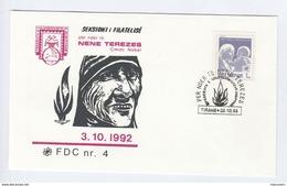 1992 ALBANIA FDC Stamps MOTHER TERESA Nobel Prize Cover - Albania