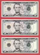3x STARNOTE ° 5 US-Dollar 2013 ° 3.200.000 Run-Size ° Sehr Guter Zust. ° MF0276100+200+300* ($004-05) Fancy Small Number - Abarten