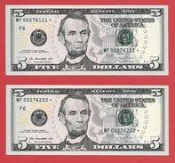 2x STARNOTE ° 5 US-Dollar 2013 ° 3.200.000 RunSize ° Sehr Guter Zustand ° MF0276111+222* ($005-05) Fancy Small Number - Abarten