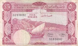 YEMEN YDR 5 DINARS 1965-P 4b F/VF PREFIX S - Yemen