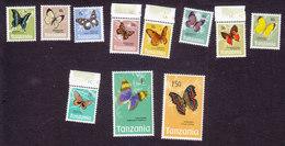 Tanzania, Scott #35-45, Mint Hinged, Butterflies, Issued 1973 - Tanzania (1964-...)
