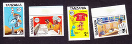 Tanzania, Scott #54-57, Mint Hinged, Telecommunications, Issued 1976 - Tanzania (1964-...)