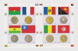 United Nations Geneva Mi 565-572 Flags And Coins Burkina Faso France Bolivia Myanmar Moldova Mali Tunis Papua 2010 ** - Blokken & Velletjes