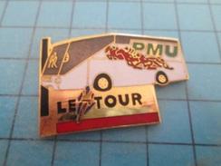 Pin610c Pin's Pins : BEAU ET RARE : TOUR DE FRANCE AUTOBUS PMU Atention Aux Seringues Les Chevaux !!    , Marquage Au Do - Cycling