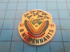 Pin610c Pin's Pins : BEAU ET RARE : Grand Pin's BASE BALL DODGERS 8 NL PENNANTS '62 '91    , Marquage Au Dos : - ---  - - Baseball