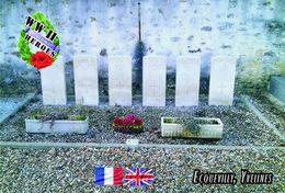 Carte Postale, Militaria, Cemetery, WW II Cemeteries, France (Yvelines), Ecquevilly Communal Cemetery - War Cemeteries