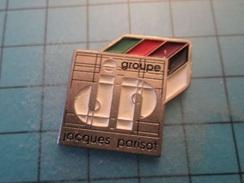Pin610c Pin's Pins : Rare Et Belle Qualité : GROUPE JACQUES PARISOT   , Marquage Au Dos : - --- - - Trademarks