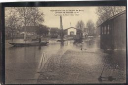 77148 . BRAY . INONDATIONS DE LA VALLEE DE BRAY . LA GARE DANS L EAU . JANVIER ET FEVRIER 1910 . (recto/verso) - Bray Sur Seine