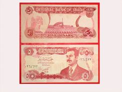 RAR Eine Alte Banknote Aus Irak Saddam Hussein 5 Dinars Kassenfrisch Unc ** Mint - Irak