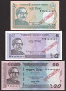 RARE Bangladesh 2017 SPECIMEN 2, 5, 50 Taka New Signature Low Value UNC Notes - Bangladesh