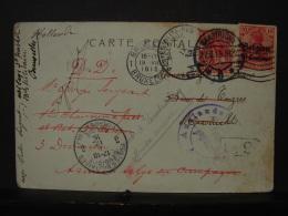 PM. 22. Carte Postale De 1915 D'un Soldat Belge Avec Plusieurs Oblitérations Belges Et Hollandaises - Poste Militaire