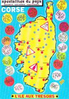 """Contour Géographique """"Corse"""" Illustration De Daniel Roman """"Spécialités Du Pays"""" L'Ile Aux Trésors - Pas Circ - Illustrateurs & Photographes"""