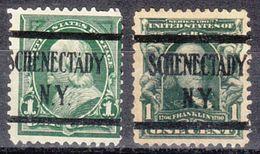 USA Precancel Vorausentwertung Preo, Locals New York, Schenectady L-1 E, 2 Diff.  Perf. 12x12 - Vereinigte Staaten