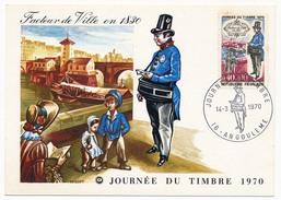 """FRANCE => Carte Fédérale """"Journée Du Timbre"""" 1970 - ANGOULEME - Timbre 0,40 + 0,10 Facteur De Ville En 1830 - Journée Du Timbre"""