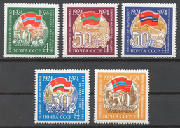 USSR 1974 Sol# 4384-88** 50th ANNIV. OF FOUNDING OF REPUBLICS - Ongebruikt
