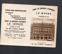 Paris : Calendrier 1951 ASSURANCES LE MONDE  (PPP6534) - Calendars