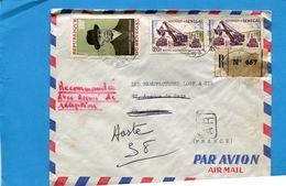 Marcophilie-Sénégal-Lettre-REC->France-cad 1969-3-stamps-N° A63 ADENAUER+ Carrière Terrassement - Senegal (1960-...)