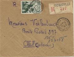 1951- Enveloppe RECC. De TOCQUEVILLE ( Constantine) Affr. N° Pa N°9  SEUL - Algerien (1924-1962)