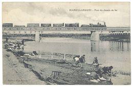 Cpa Hérault - Marsillargues - Pont Du Chemin De Fer ( Train, Lavandières ) - France
