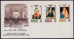 Ca0006 NEW HEBRIDES 1977, SG 255-7  Christmas  FDC - English Legend