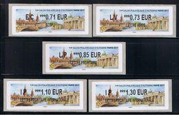 5 ATMs, LISA2. EC 0.71/ LV 0.73/ LP 0.85/ IP 1.10/ IP1.30. 71e SALON D'AUTOMNE, PARIS 2017, BERLIN, PORTE DE BRANDEBOURG - 2010-... Geïllustreerde Frankeervignetten