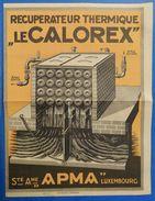Société Anonyme APMA Luxembourg Le Calorex : Récupérateur Thermique - 1925 - Chauffage - Luxembourg