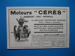 (1930) Moteurs CÉRÈS (Essence, Gaz, Pétrole) - Moteurs Agricoles, Industriels, Moto-Pompes - Usines à Bar-sur-Aube - Ohne Zuordnung