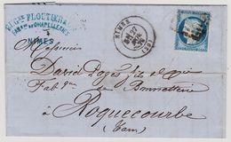 Cérès N° 60 A N° 11 D3 2éme état Nimes Sur Lettre 2 Scans - 1871-1875 Cérès