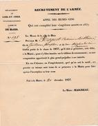 1837 - BLOIS (41) - RECRUTEMENT DE L'ARMÉE - Recensement Des Conscrits Casimir Sosthène ROQUET - Historische Documenten