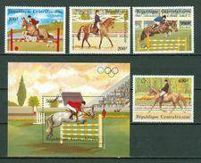 Centrafrique 1983 Yv PA 276/79** + Bf 64** , Mi 956/59** + Bl 246** MNH  Concours Hippique - Olympic Games - Centrafricaine (République)