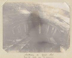 Paris : Travaux Métro Nord Sud, Souterrain, Cintre Front Est, Mai 1914.  Quadruplement. Photo Originale - Trains