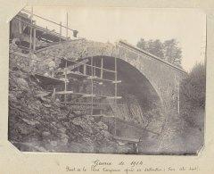 SAINT MARTIN DU TERTRE  : Destruction Pont De La Pierre Turquaise, 24 Oct 1914. Droit.  Quadruplement. Photo Originale - Trains