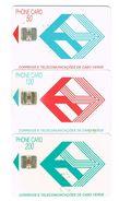 PHONECARDS--PORTUGAL--CAPE VERDE-- CTT CABO VERDE--THONE CARD-CHIP- SET 3 CARDS (50+100+200 ) - Cap Vert