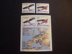POLAND 1982 VICTORY IN CHALLENGE FIRST EUROPEAN FLIGHT   MICHEL 2806/7 + BLOCK 87    MNH ** (V3-NVT) - Aviones
