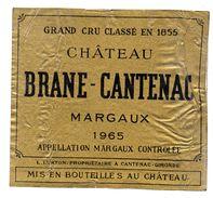Etiquette Bordeaux Chateau Brane Cantenac 1965 - Bordeaux