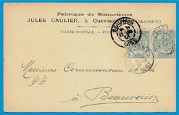 Rare CPA Carte Commerciale Belgique Belgie - QUEVAUCAMPS (BELOEIL) (Hainaut) Fabrique De Bonneteries Jules CAULIER - Beloeil