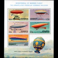 PENRHYN 1983 - Scott# 259A S/S Balloons 200th. MNH - Penrhyn
