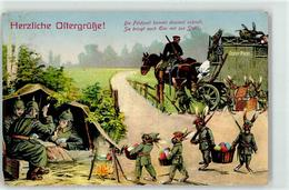52702631 - Hasen Vermenschlicht, Lagerfeuer, Ostereier, Feldpost, Osterpost, Skat Spielen, Hasen In Uniform - Easter