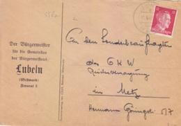 Lettre à Entête Mairie De Longeville (T333 Lubeln A ü St Avold) TP Reich (12pf=1°éch) Le 11/9/42 Pour Metz - Postmark Collection (Covers)