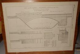 Plan D'un Pont Route Aqueduc En Maçonnerie. Chemin De Fer De Saint Rambert à Grenoble. 1857. - Public Works