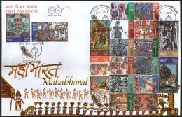 India 2017 Mahabharata Paintings Hindu Mythology Epic Story God God 18v Set FDC Inde Indien - Hinduism