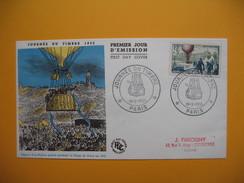 FDC  Lettre  1955 Avec Tampon Spécial Premier Jour Journée Du Timbre Départ D'un Ballon Postal - 1950-1959