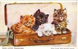Cat Card -  Four Little Travellers.  1957.  Mable Gear. - Katzen