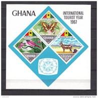 Ghana1967,4V In Block, Butterflies,vlinders,schmetterlinge,papillons,bird,vogel,water Buck,waterbok,MNH/Postfris(L3288) - Butterflies